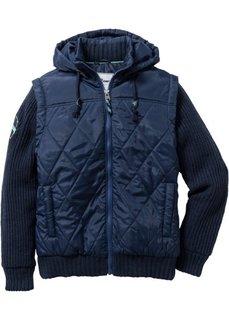 Куртка Regular Fit с вязаными рукавами (темно-синий) Bonprix