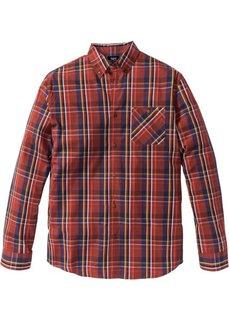 Клетчатая рубашка Regular Fit с длинным рукавом (темно-оранжевый/синий в клетку) Bonprix
