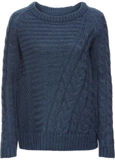 Вязаный пуловер (насыщенно-голубой) Bonprix