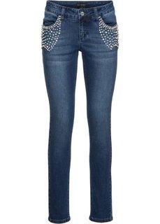 Стрейчевые джинсы с эффектом пуш-ап, украшены бусинами (светло-голубой деним) Bonprix
