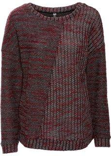 Вязаный пуловер (кленово-красный меланж) Bonprix