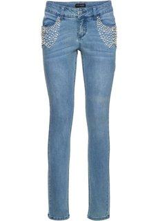 Стрейчевые джинсы с эффектом пуш-ап, украшены бусинами (нежно-голубой деним) Bonprix