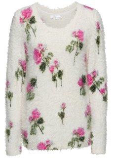 Вязаный пуловер с цветочным узором (кремовый в цветочек) Bonprix