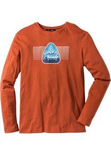 Футболка Regular Fit с длинным рукавом и принтом (темно-оранжевый) Bonprix