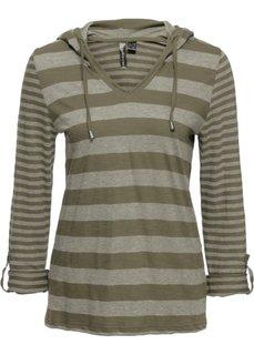 Полосатая футболка с длинным рукавом (оливковый в полоску) Bonprix