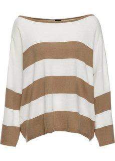 Прямой пуловер в стиле оверсайз короткой формы (бежевый/цвет белой шерсти) Bonprix