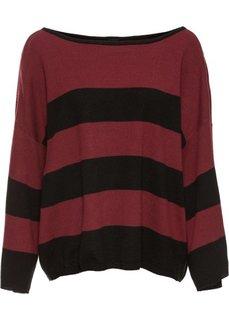 Прямой пуловер в стиле оверсайз короткой формы (черный/кленово-красный) Bonprix