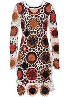 Платье из вязаного кружева (бежевый/темно-коричневый) Bonprix