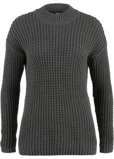 Пуловер с воротником-стойкой и структурным узором (серый меланж) Bonprix