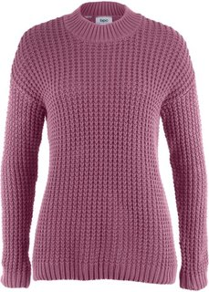 Пуловер с воротником-стойкой и структурным узором (ягодный матовый) Bonprix