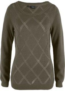Пуловер с ажурным узором (темно-оливковый) Bonprix