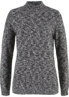 Пуловер с воротником-стойкой (черный/серый меланж) Bonprix