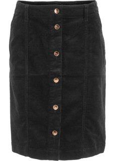 Стрейчевая юбка на пуговицах (черный) Bonprix