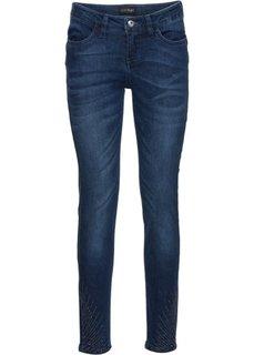 Стрейчевые джинсы с эффектом пуш-ап, украшены стразами (светло-голубой деним) Bonprix