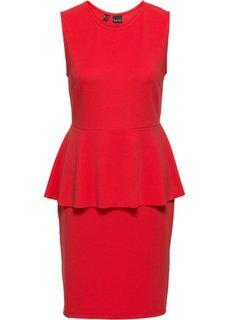 Трикотажное платье с баской (клубничный) Bonprix
