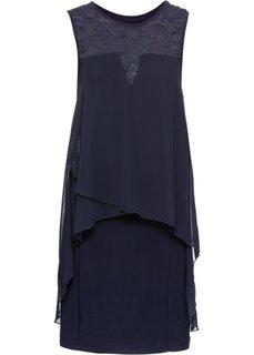Платье из трикотажа и шифона (полуночная синь) Bonprix