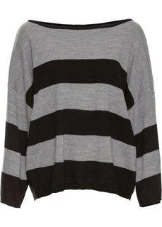 Прямой пуловер в стиле оверсайз короткой формы (черный/серый меланж) Bonprix