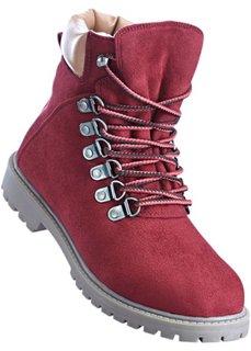 Ботинки на шнуровке (бордовый/верблюжий) Bonprix
