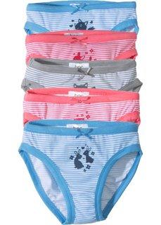 Трусики (5 шт.) (ночная синь/серый/нежный ярко-розовый) Bonprix
