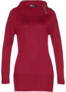 Длинный пуловер (темно-красный) Bonprix