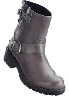 Кожаные полусапожки в байкерском стиле (серый) Bonprix