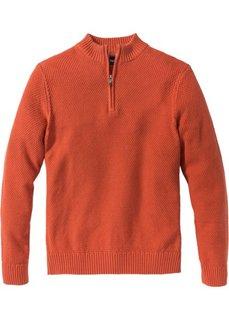 Пуловер Regular Fit с высоким воротом на молнии (темно-оранжевый) Bonprix