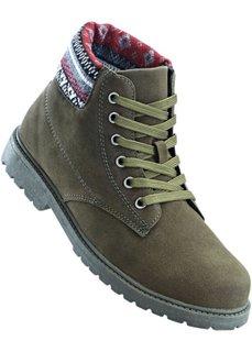 Ботинки на шнуровке (оливковый) Bonprix