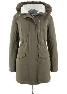 Куртка-парка с капюшоном с опушкой из искусственного меха (темно-оливковый) Bonprix