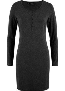 Трикотажное платье на пуговицах (серый меланж) Bonprix