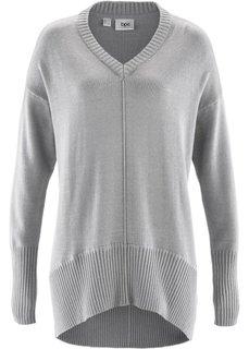 Пуловер в стиле оверсайз (светло-серый меланж) Bonprix