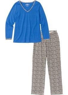 Пижама с длинными брюками (голубой/леопардовый) Bonprix