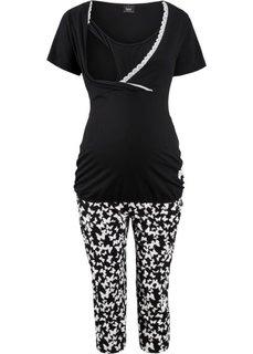Пижама для будущих и кормящих мам (черный с рисунком) Bonprix