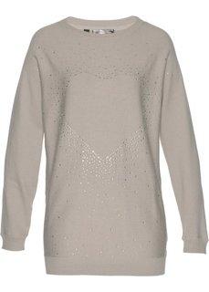 Удлиненный пуловер со стразами (меланжевый натуральный камень) Bonprix