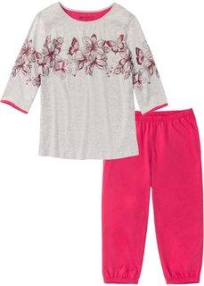 Пижама-капри (светло-серый меланж/красный гранат) Bonprix