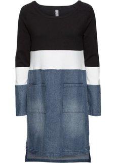 Вязаное платье в миксе материалов (черный/кремовый/синий «потертый») Bonprix