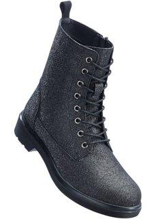 Ботильоны на шнуровке (черный блестящий) Bonprix