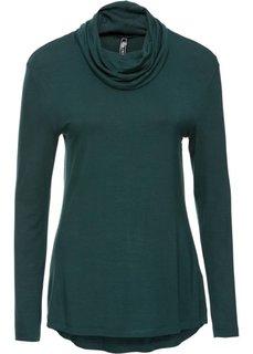 Пуловер с высоким воротом (зеленый) Bonprix