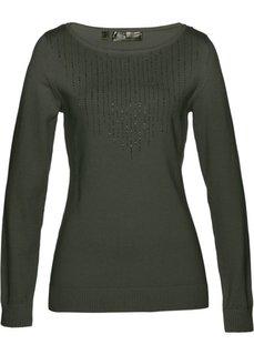 Пуловер (темно-оливковый) Bonprix