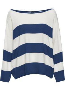 Прямой пуловер в стиле оверсайз короткой формы (темно-синий/цвет белой шерсти в полоску) Bonprix