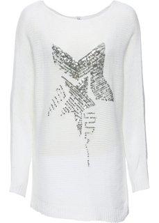 Пуловер со звездой из пайеток (белый) Bonprix