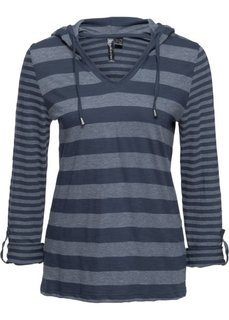 Полосатая футболка с длинным рукавом (темно-синий в полоску) Bonprix