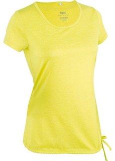 Спортивная футболка с кулиской и коротким рукавом (меланж зеленого лайма) Bonprix