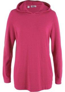 Пуловер с капюшоном (ягодно-красный) Bonprix