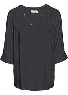 Блузка с пайетками (черный) Bonprix