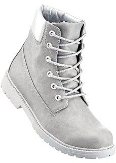 Ботинки на шнурках (светло-серый/серебристый) Bonprix