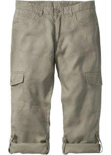 Льяные брюки-карго Regular Fit с хлястиками, низкий + высокий рост (U + S) (хаки) Bonprix