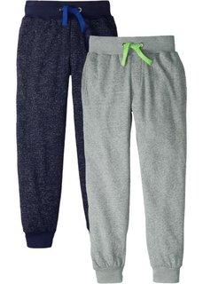 Трикотажные брюки меланжевой расцветки (2 шт.) (черный/синий меланж+серый/зеленый меланж) Bonprix