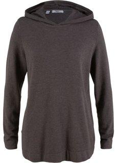 Пуловер с капюшоном (серый меланж) Bonprix