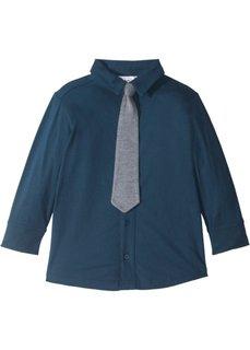Трикотажная рубашка (2 шт.) (темно-синий/серый меланж с галстуком) Bonprix