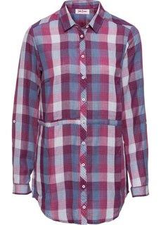 Удлиненная блуза с лентами для завязывания и длинным рукавом (ягодный/синий матовый в клетку) Bonprix